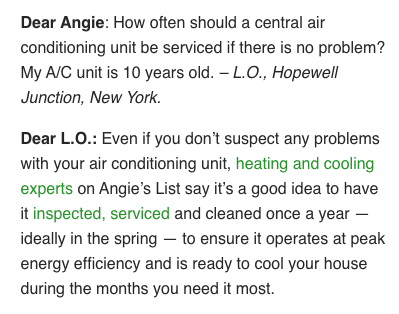 ac tune-up frequency angie's list